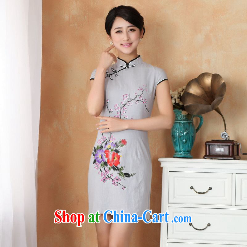 Jing An outfit summer improved retro dresses up for a tight cotton the hand-painted Chinese improved cheongsam dress short 2396 - 1 the color 2 XL _recommendations 120 - 130 jack_