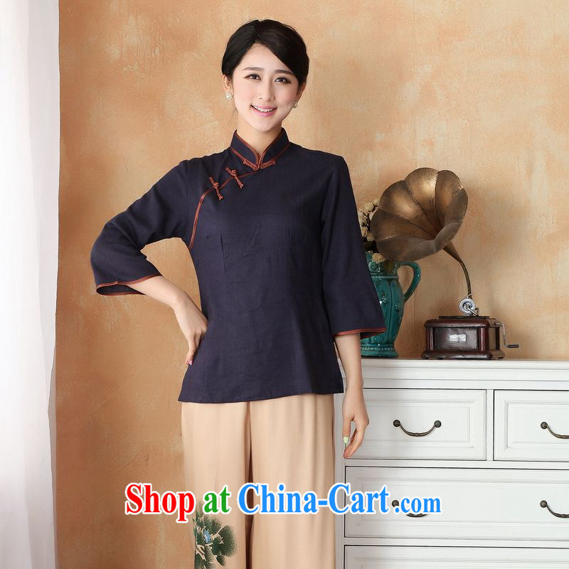 Allow Ms. Jing Tang Women's clothes summer wear T-shirt, for a tight cotton the Chinese Han-female improved Chinese cuff in 2382 - 4 black S _recommendations 85 - 100 jack_