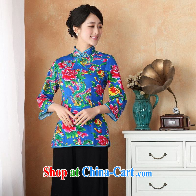 Allow Ms. Jing Tang Women's clothes summer T-shirt, for a tight cotton stamp Chinese improved female improved Chinese cuff in 2362 - 2 blue 2 XL _recommendations 150 - 160 jack_