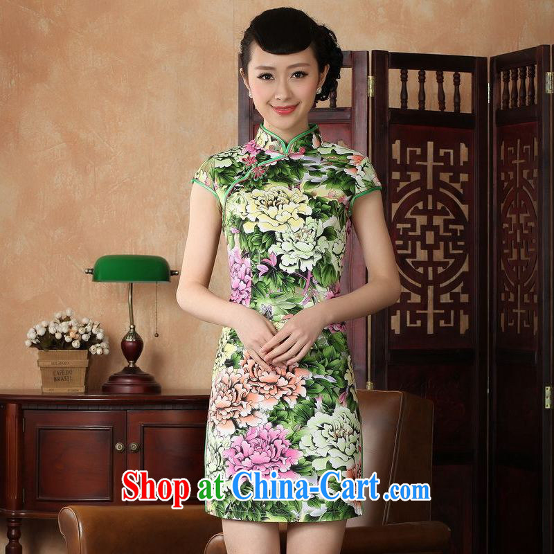 Jing An outfit summer improved retro dresses, for a tight cotton hand-painted Chinese improved cheongsam dress short 0221 - A green 2 XL _recommendations 120 - 130 jack_