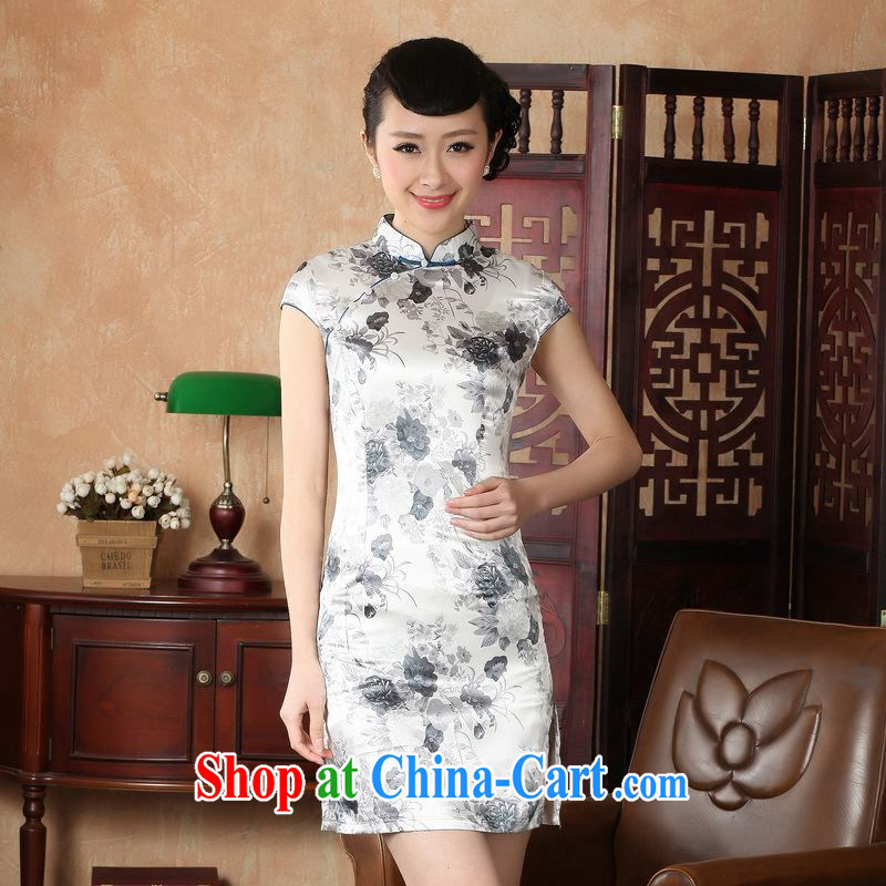 Miss Au contributed dresses summer improved retro dresses, for a tight silk hand-painted Chinese improved cheongsam dress short DQ J 1002 5139 gray 2 XL (recommendations 120 - 130 jack)