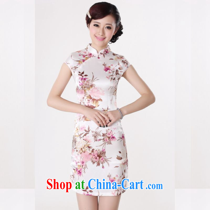 Miss Au contributed dresses summer improved retro dresses, for a tight silk hand-painted Chinese improved cheongsam dress short DQ 1001 white M _100 - 110 _ jack