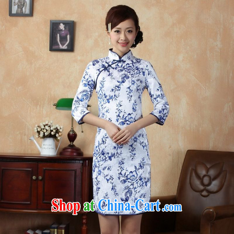 Jing An outfit summer improved retro dresses up for a tight hand-painted Chinese improved cuff in cheongsam dress, long, 0020 white M (recommendations 100 - 110 jack)