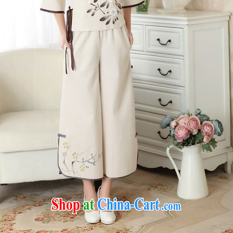 Floor is still building female new, Ms. summer Chinese improved Ethnic Wind Bonfrere looked Wide Leg trousers casual Chinese trousers children m yellow L