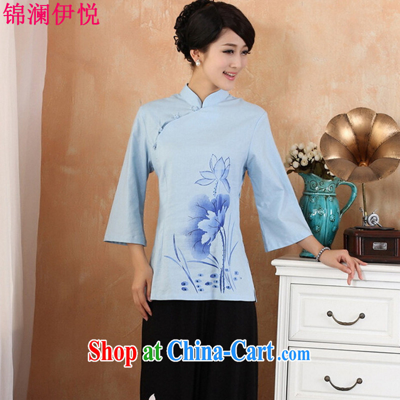 Kam-world the Hyatt 2015 summer new women with retro Lotus stamp loose XL thick mm female national literary style cheongsam shirt improved daily blue XXL