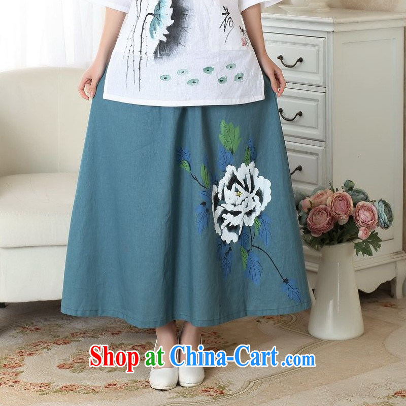 Floor is still building female new summer China wind retro-bag Elastic waist large, long skirt hand-painted body skirt girl picture color M
