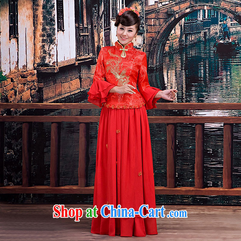 2014 new bridal wedding dresses qipao,Chinese qipao long cheongsam red customer service to size up to do not support returned.