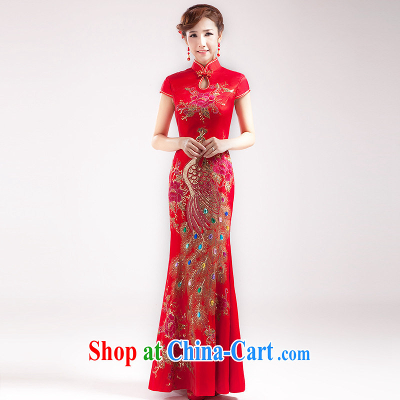 2014 summer long, red Bride With wedding dresses skirt Stylish retro lace improved cheongsam toast serving female Red XXXL need to be do not support RMA