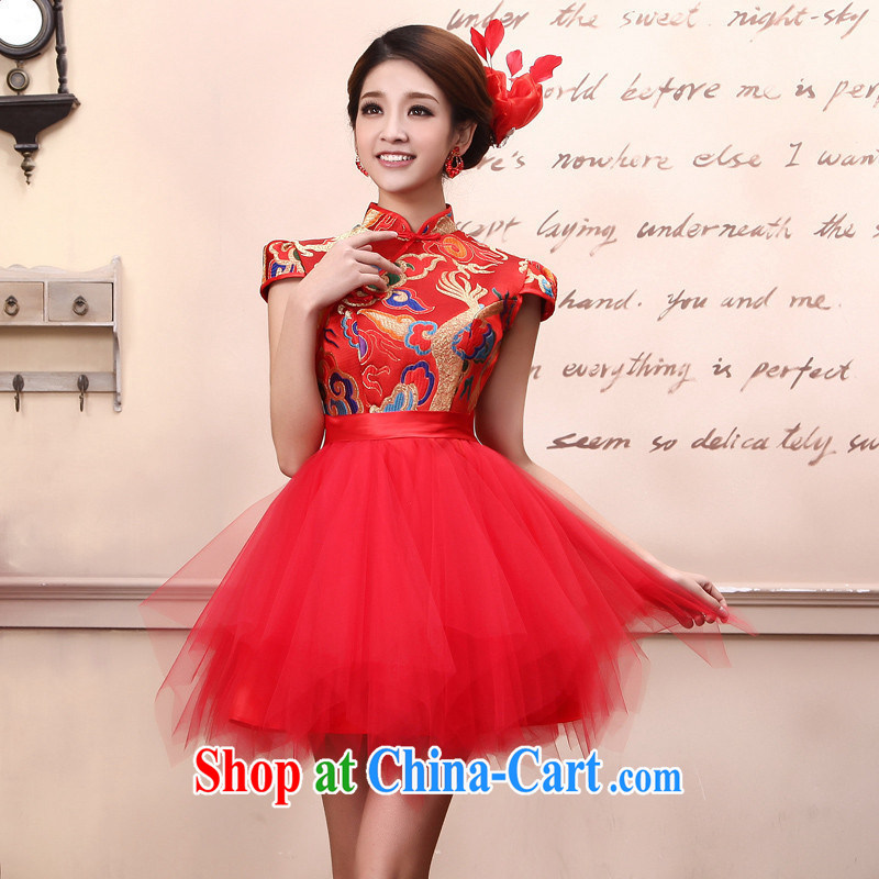 Improved cheongsam stylish summer short Chinese small dress bridal wedding dress toast the doors Q 5108 red customer service to size up to do not support return
