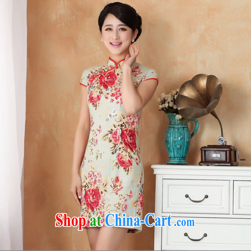 Floor is still building female new summer, Ms. short-sleeved hand-painted Chinese improved ethnic winds, Retro dresses Tang women dress - 7 in figure 2 XL