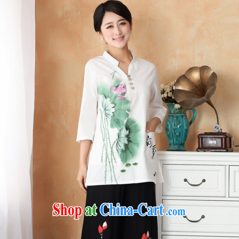 Floor is still building female new summer cotton Ms. Ma maximum code Chinese female improved hand-painted cheongsam Chinese girls T-shirt - 2 Hong Kong I should be grateful if you 3 XL
