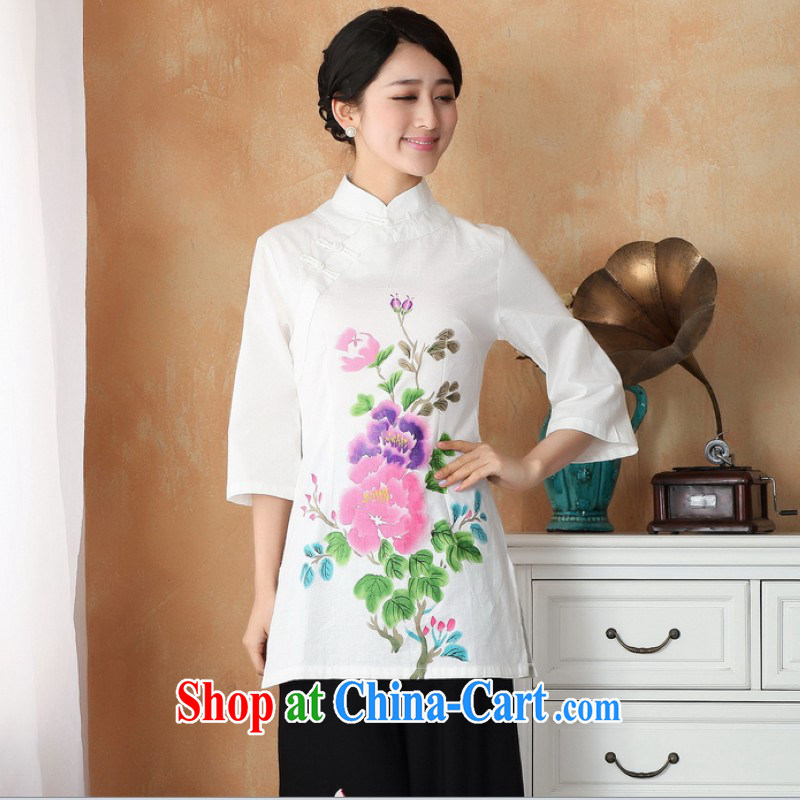Floor is still building female new summer, Ms. short-sleeved Chinese improved ethnic winds, cotton Ma hand-painted antique dresses Tang women dress - 2 white powder take 2 XL