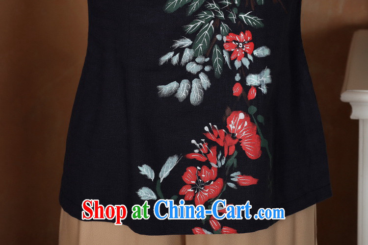 Floor is still building female new, Ms. summer, for the charge-back cotton the larger Chinese improved retro hand-painted cheongsam Chinese women dress - 1 blue 3 XL pictures, price, brand platters! Elections are good character, the national distribution, so why buy now enjoy more preferential! Health
