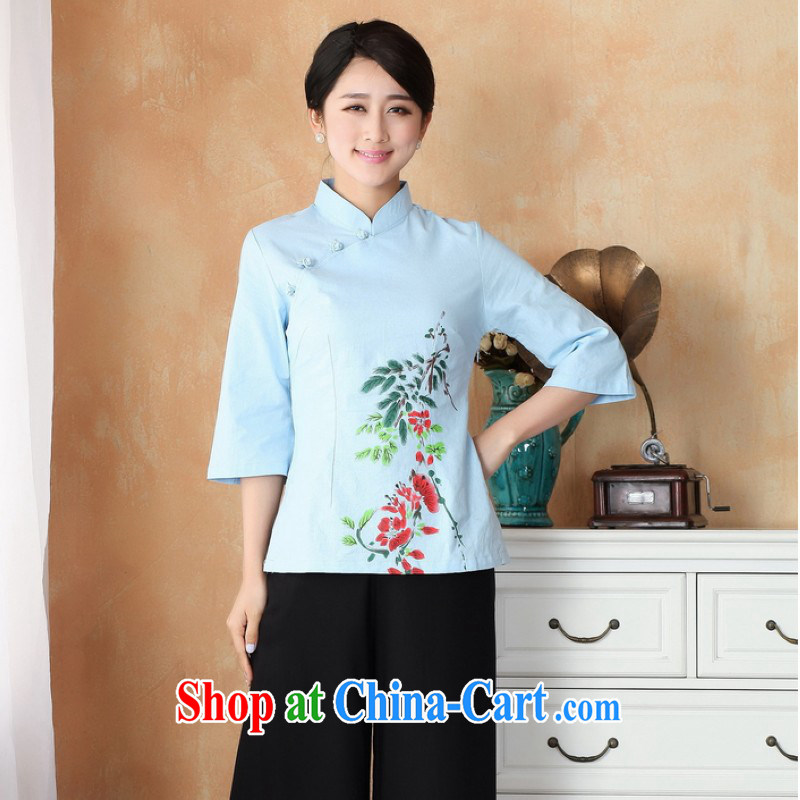 ground floor is still building female new summer, Ms. for the charge-back cotton the larger Chinese improved retro hand-painted cheongsam Chinese women dress - 1 blue 3 XL