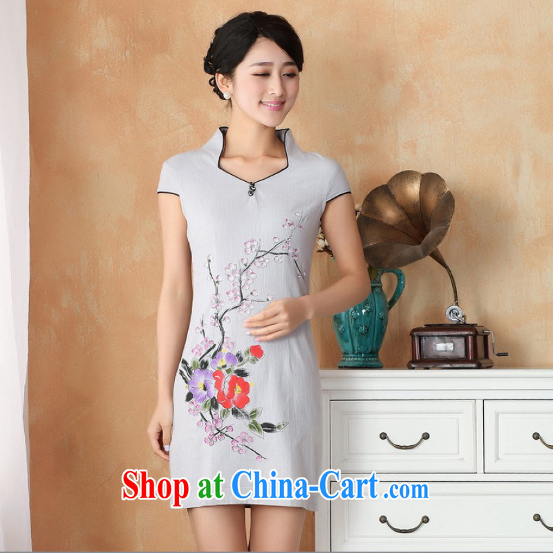 Floor is still building female new paragraph, Ms. short-sleeved-buckle antique Chinese hand-painted improved the code name Ethnic Wind cheongsam Chinese women dress - 2 figure 2 XL