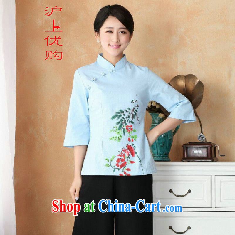 Shanghai, optimize purchase female Tang Women's clothes summer T-shirt, for a tight hand-painted cotton the Chinese Han-female improved 2395 - 1 blue 3 XL recommendations 150 - 160 jack