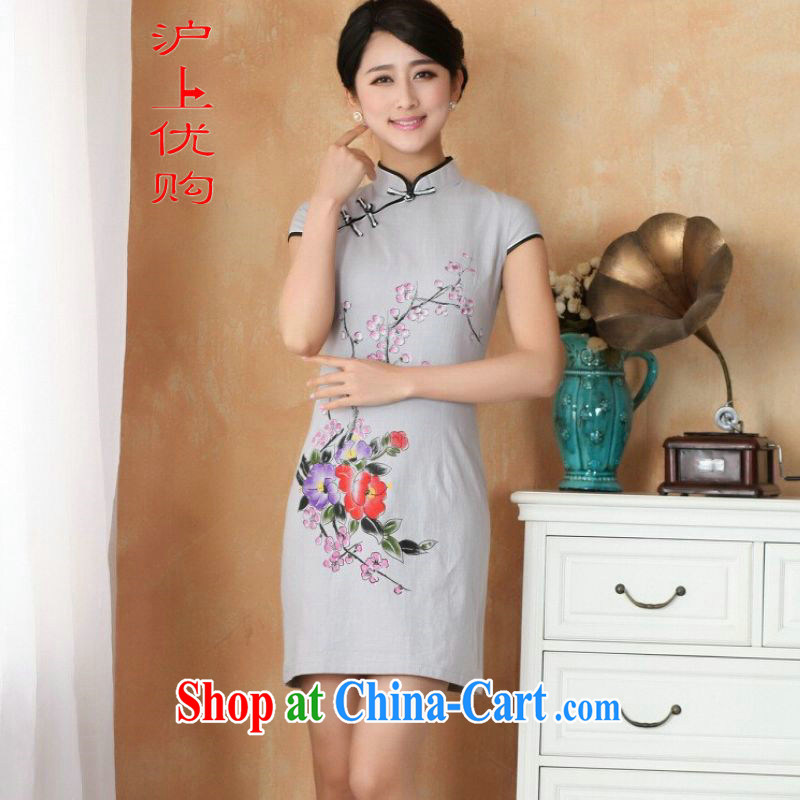 Shanghai, optimize purchase cheongsam dress summer improved retro dresses, for a tight cotton stamp Chinese improved cheongsam dress short - 1 the color 2 XL recommendations 120 - 130 jack