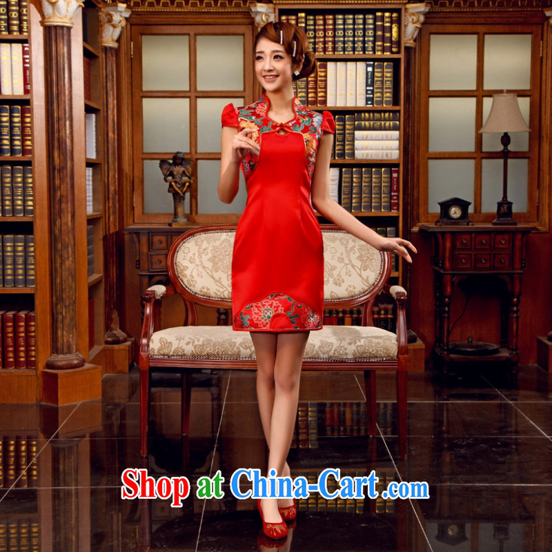 Bridal wedding dresses wedding dresses red short cheongsam Chinese Antique improved cheongsam toast Stage service red customer service to size up to do not support RMA