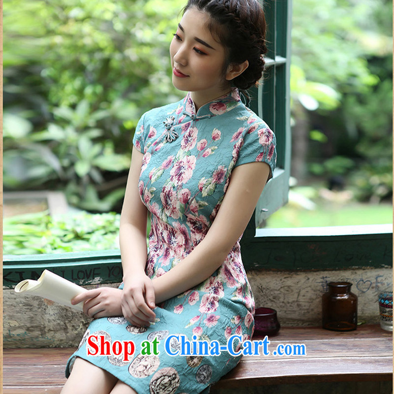 proverbial hero once and for all and spring lock down retro new cheongsam dress summer dress outfit improved daily stylish blue 2 XL