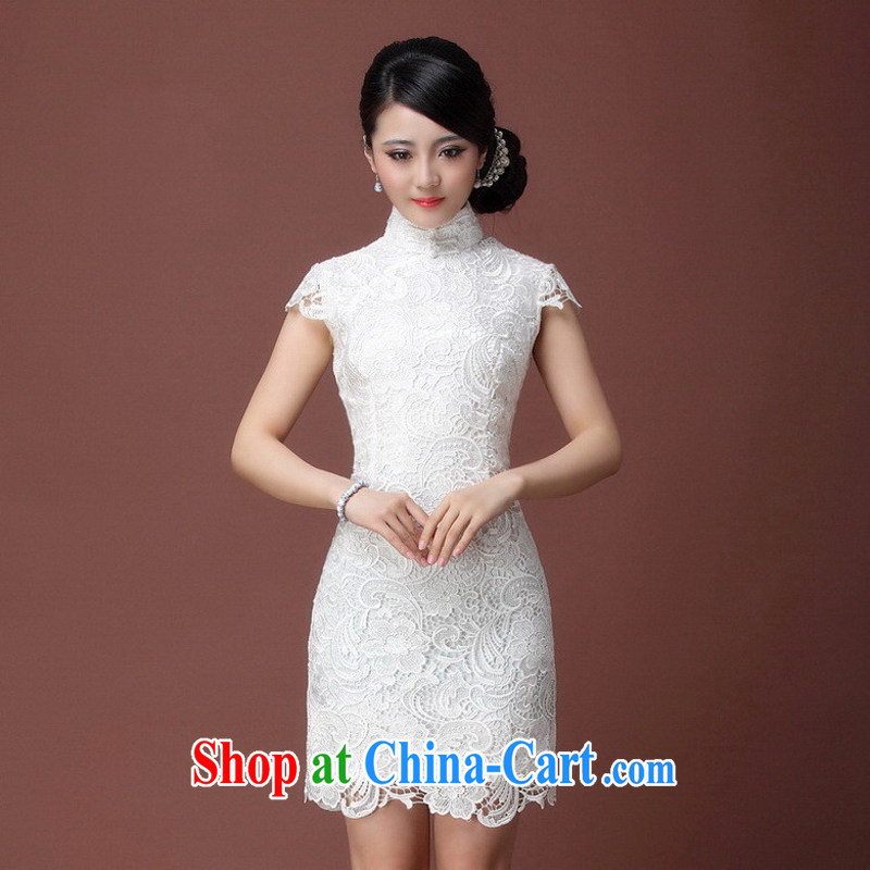 Elegant imported water-soluble lace cheongsam luxury to the white only the cheongsam dress dress Y 640 white S can be returned.