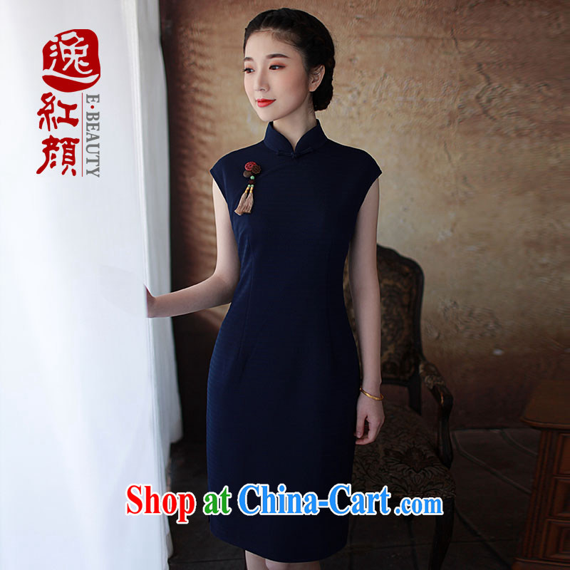 once and for all and fatally jealous �t verse retro new cheongsam dress summer cheongsam dress improved daily fashion beauty blue L