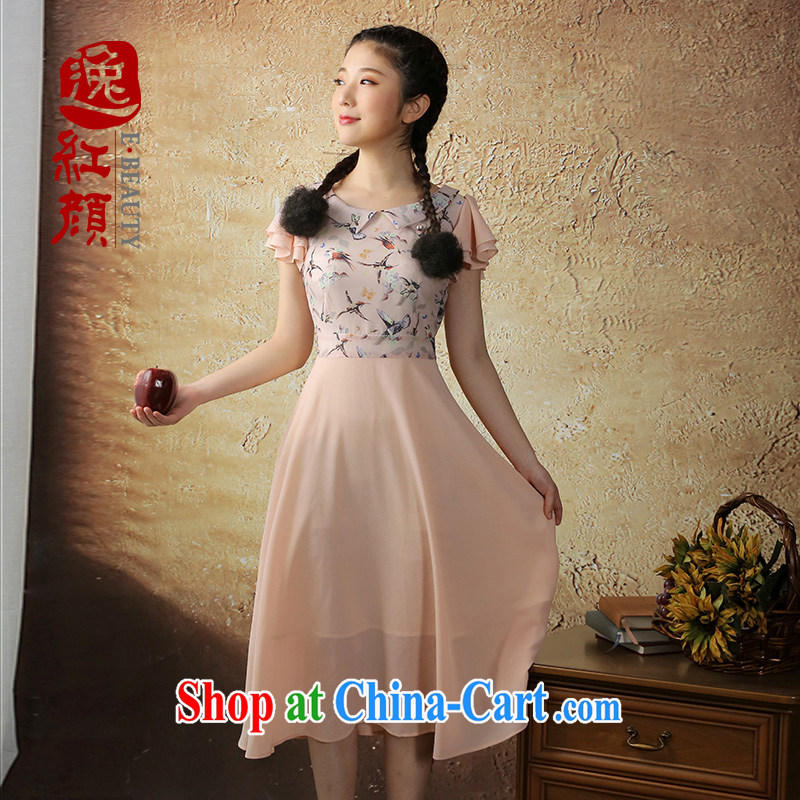 once and for all and fatally jealous Toner fuser China wind dresses 2014 summer new literary and artistic small fresh female skirt ethnic wind pink S