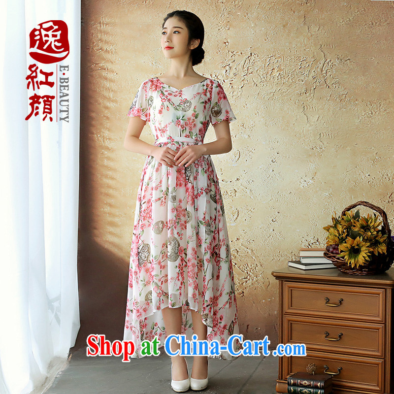 once and for all and without Wind Flower Snow was woven stamp China wind dresses Ethnic Wind women's clothing summer softness round-collar women skirt red M