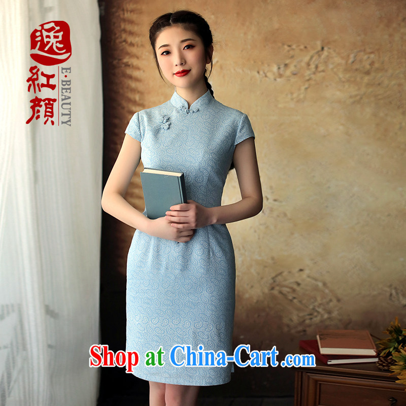 proverbial hero once and for all from a retro new cheongsam dress summer dress outfit improved daily stylish blue XL