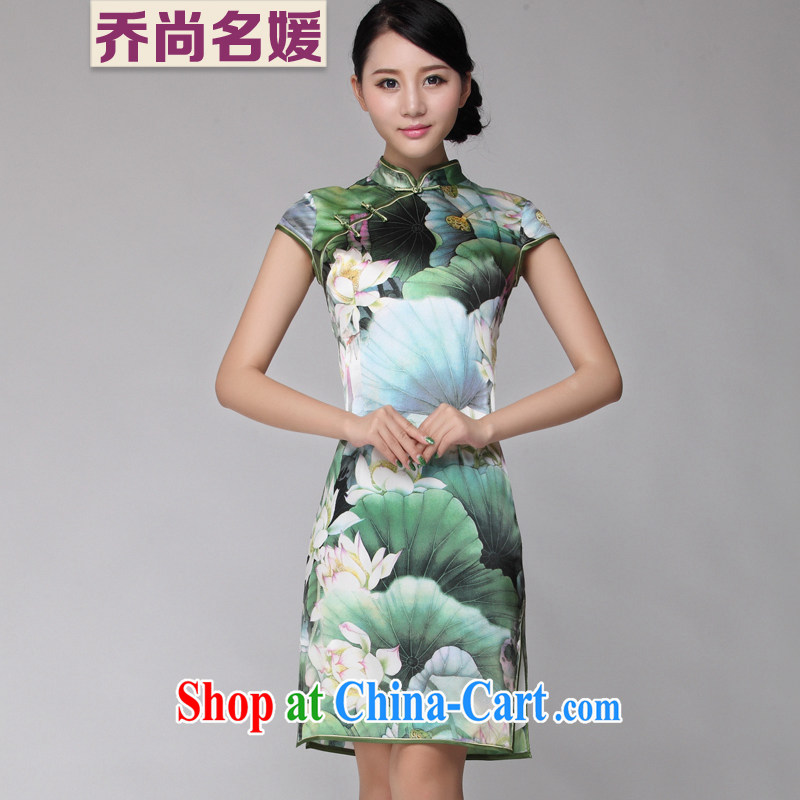 Silk Cheongsam improved summer Lotus stylish upmarket daily silk Tang Women's clothes ZS 003 green M (2 feet 1 back)