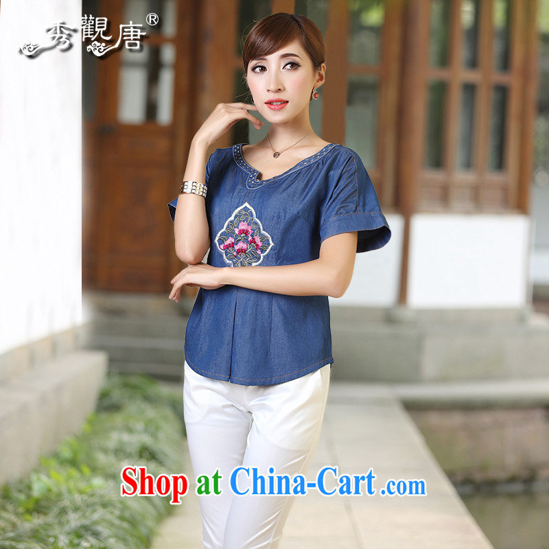 The CYD HO Kwun Tong) and 2014 summer new short-sleeved Ethnic Wind shirt embroidered Ms. TD loaded 4324 dark blue XL