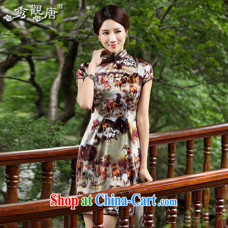 The CYD HO Kwun Tong' 10,000 horse 2014 summer retro stamp Silk Cheongsam upscale sauna Silk Cheongsam QD 4523 fancy XXL
