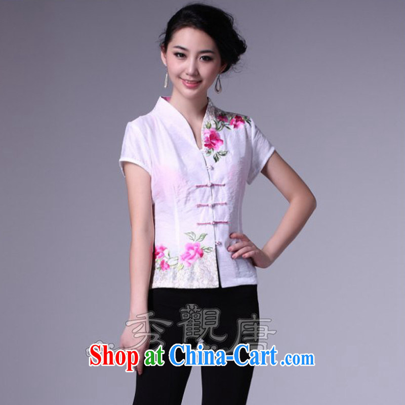 The CYD HO Kwun Tong' charm Peony embroidery Chinese, summer/Chinese improved short-sleeved dresses T-shirt/G 16,177 white L