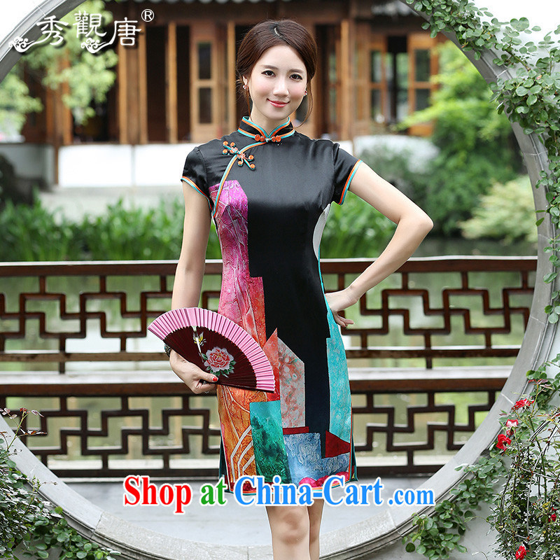 The CYD HO Kwun Tong' 5 color stone 2015 summer Silk Cheongsam new retro sauna Silk Cheongsam QD 4543 black M