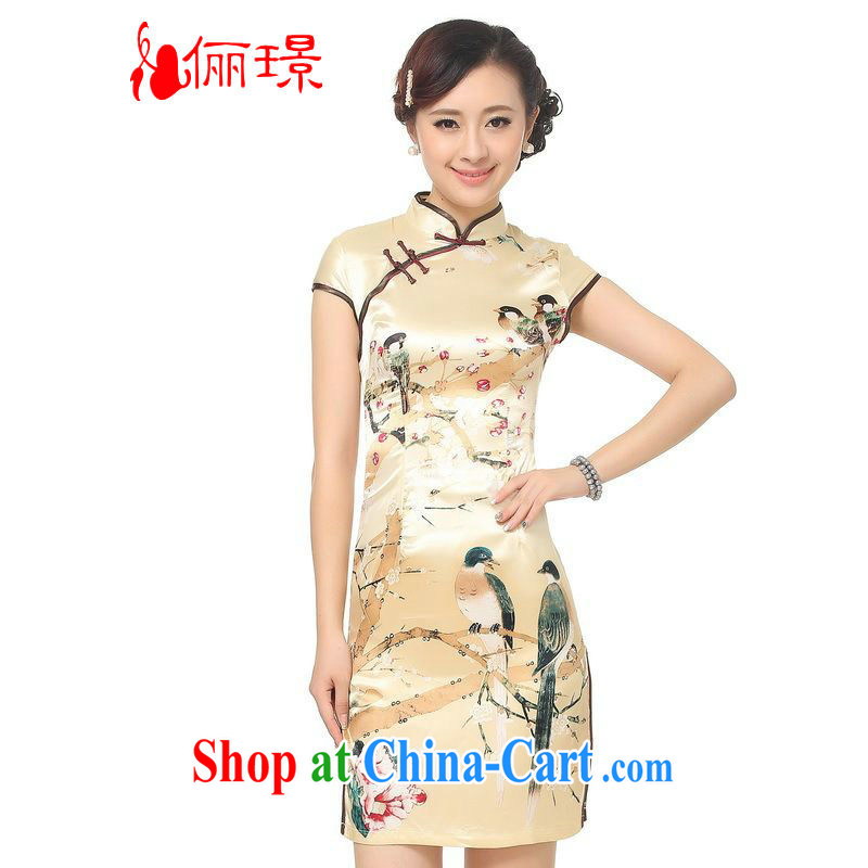 Miss Au contributed dresses summer improved retro dresses, for a tight silk hand-painted Chinese improved cheongsam dress, long, 0197 - B gold 2XL _recommendations 120 - 130 jack_