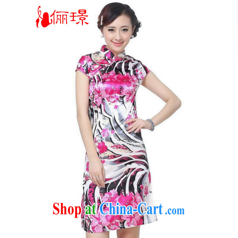 Jing An outfit summer improved retro dresses up for a tight silk stamp Chinese improved cheongsam dress, long, 0069 white 2XL