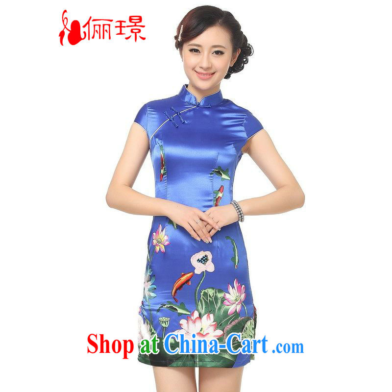 Miss Au King contributed dresses summer improved retro dresses, for a tight silk Lotus Chinese improved cheongsam dress short D 0183 - A PO blue L (recommendation 110 - 115 jack)