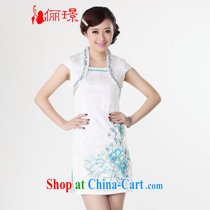 Jing An outfit summer improved retro dresses, for pure cotton hand-painted Chinese improved cheongsam dress short 0114 white 2XL _recommendations 120 - 130 jack_