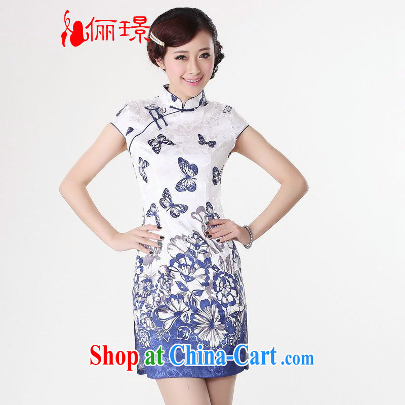 Miss Au contributed dresses summer improved retro dresses, for a tight cotton butterfly stamp Chinese improved cheongsam dress short 0220 white 2XL _recommendations 120 - 130 jack_