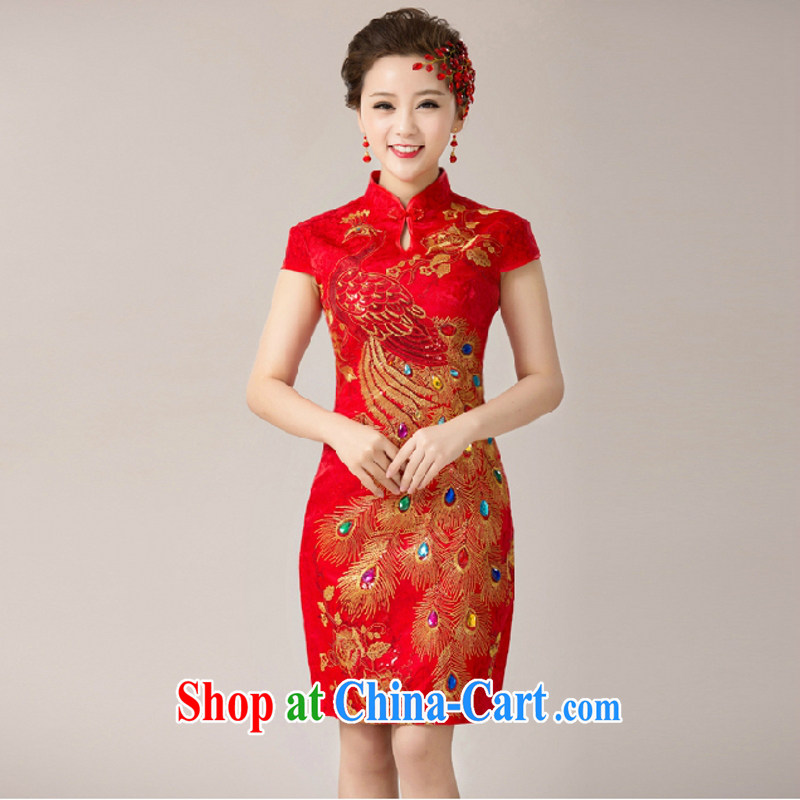 According to the 2015 Uganda new marriage bridal toast service bridal dresses cheongsam dress marriage red back door service short cheongsam red M