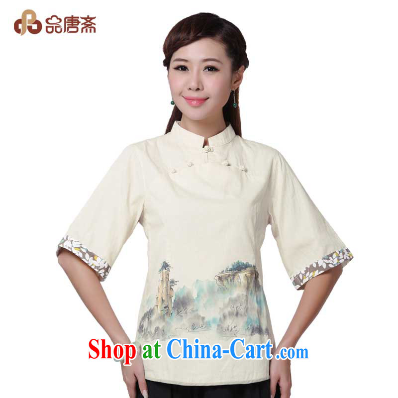 Mr Henry Tang, Id al-Fitr 2014 summer female China wind retro cotton Ma Chinese T-shirt dresses raw linen color XL