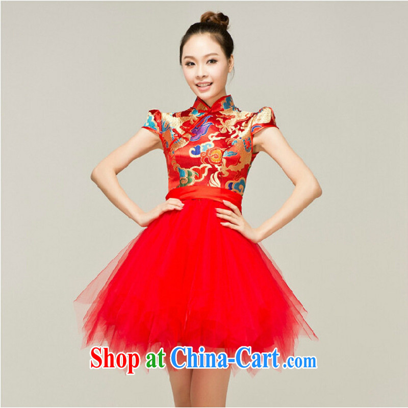 According to the 2015 Uganda New Red Gold short, dragon robe Chinese wind retro graphics thin lively cheongsam bridal toast serving Red. size will not be returned.
