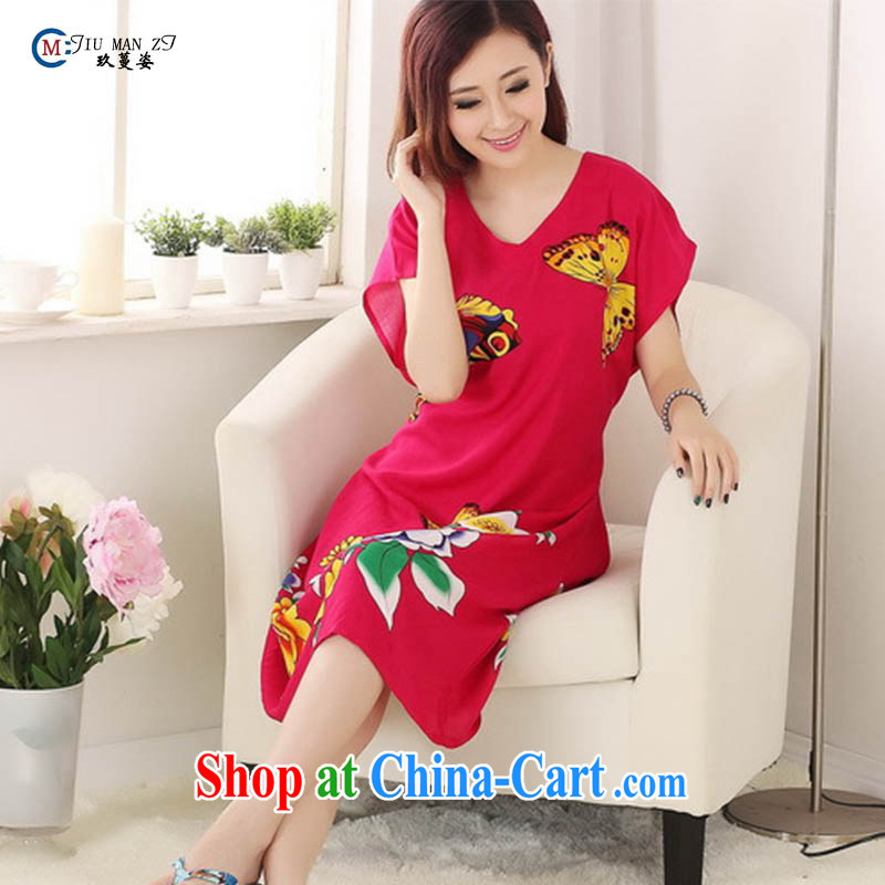 Ko Yo Mephidross 2015 Colorful spring and summer new, cotton fashion round collar relaxed and comfortable Butterfly The stylish lounge S 0117 red are code
