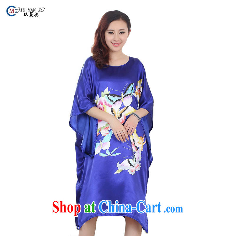 Ko Yo vines into colorful 2015 spring and summer new, robes and noble emulation, stylish and no collar, sleeve loose even-robes S 4027 blue are code