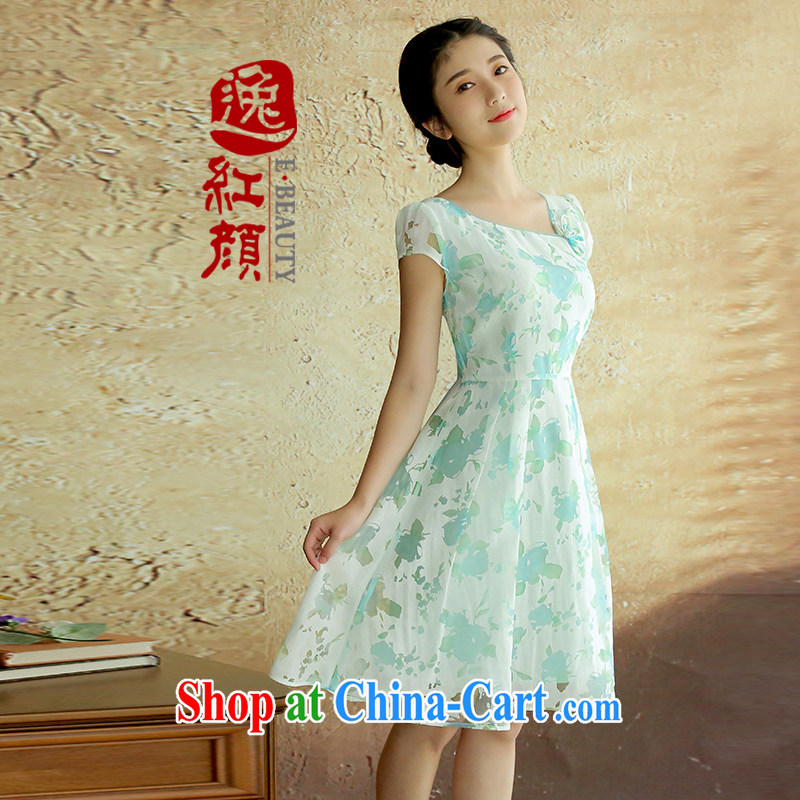The proverbial hero once and for all as soon as possible by taking summer 2015 new retro style dresses and elegant-low collar sexy skirt blue S