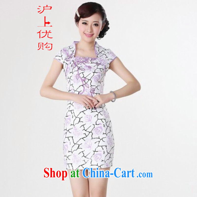 Shanghai, optimize purchase cheongsam dress summer improved retro dresses, for a tight cotton stamp Chinese improved cheongsam dress short white 2XL recommendations 120 - 130 jack