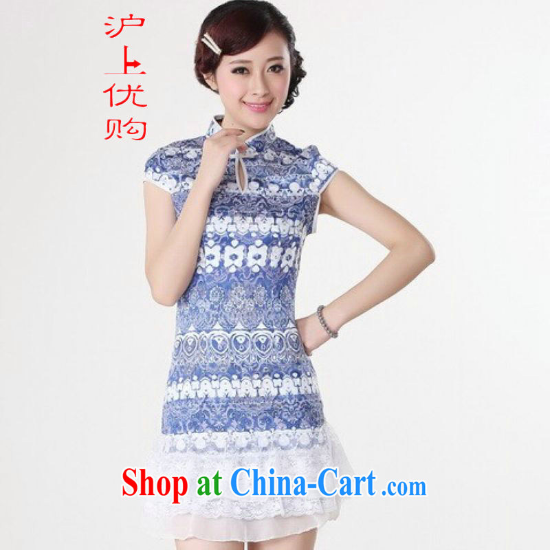 Shanghai, optimize purchase cheongsam dress summer improved retro dresses, for a tight cotton stamp Chinese improved cheongsam dress short blue 2 XL recommendations 120 - 130 jack