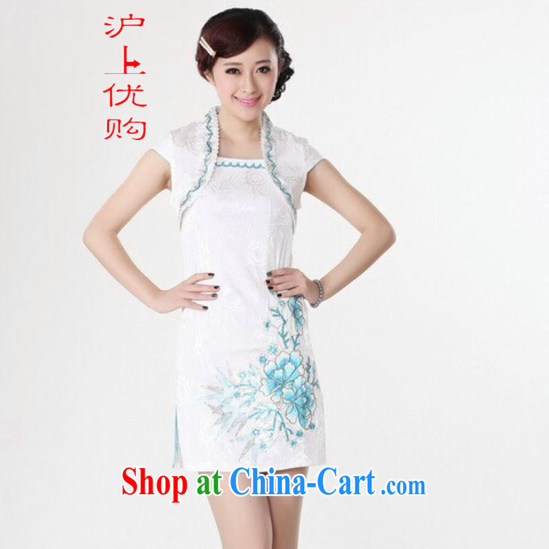 Shanghai, optimize purchase dresses summer improved retro dresses party for pure cotton hand-painted Chinese improved cheongsam dress short white 2XL recommendations 120 - 130 jack
