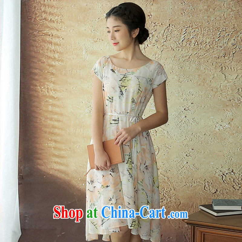 The proverbial hero once and for all -- dumping the yen summer new and fresh snow woven dresses Lightweight breathable short-sleeved fashion dresses pink 2 XL
