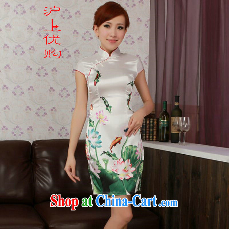 Shanghai, optimize purchase cheongsam dress summer improved retro dresses, for a tight silk hand-painted Chinese improved cheongsam dress short white 2XL recommendations 115 - 125