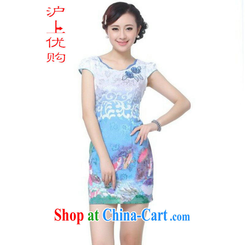 Shanghai, optimize purchase dresses summer improved retro dress with cotton stamp Chinese improved cheongsam dress short - A blue 2 XL recommendations 120 - 130 jack